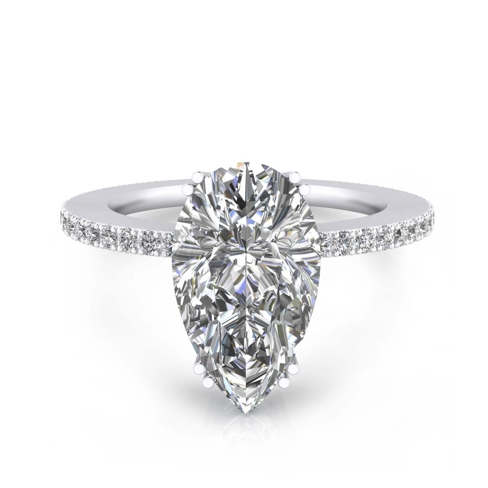Anillo de compromiso de oro blanco y 40 diamantes con diamante talla Pera