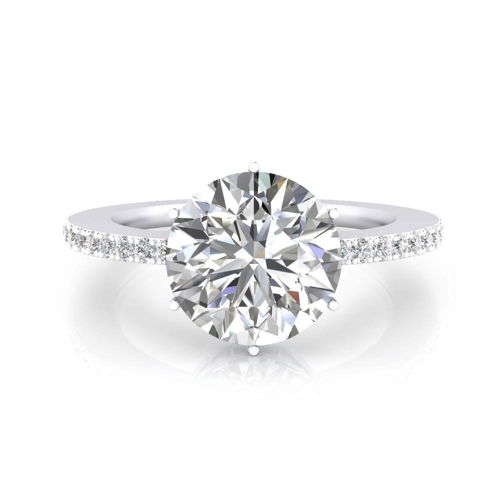 Anillo de pedida de oro blanco y diamante talla brillante
