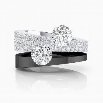 Anillos de compromiso de oro blanco con diamantes y 2 diamantes centrales