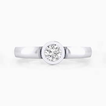 Anillos de compromiso de oro blanco con 1 diamante talla brillante