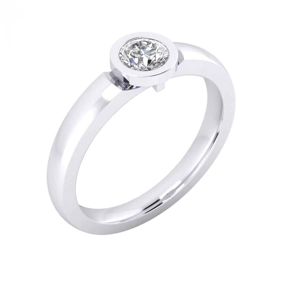 foto de perfil de Anillo de compromiso de oro blanco con y diamante talla brillante