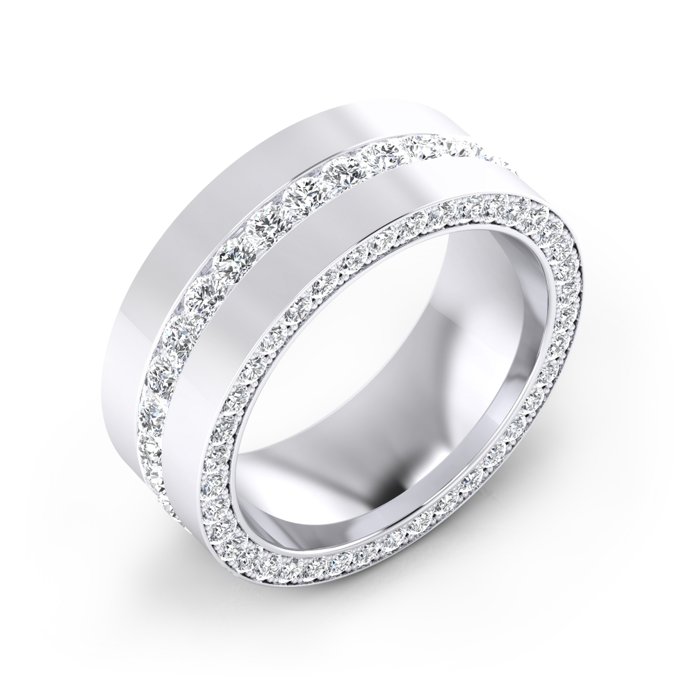Anillos de compromiso de oro blanco de 18k con 113 diamantes