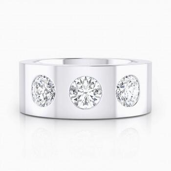 Anillos de compromiso de oro blanco de 18k con 3 diamantes