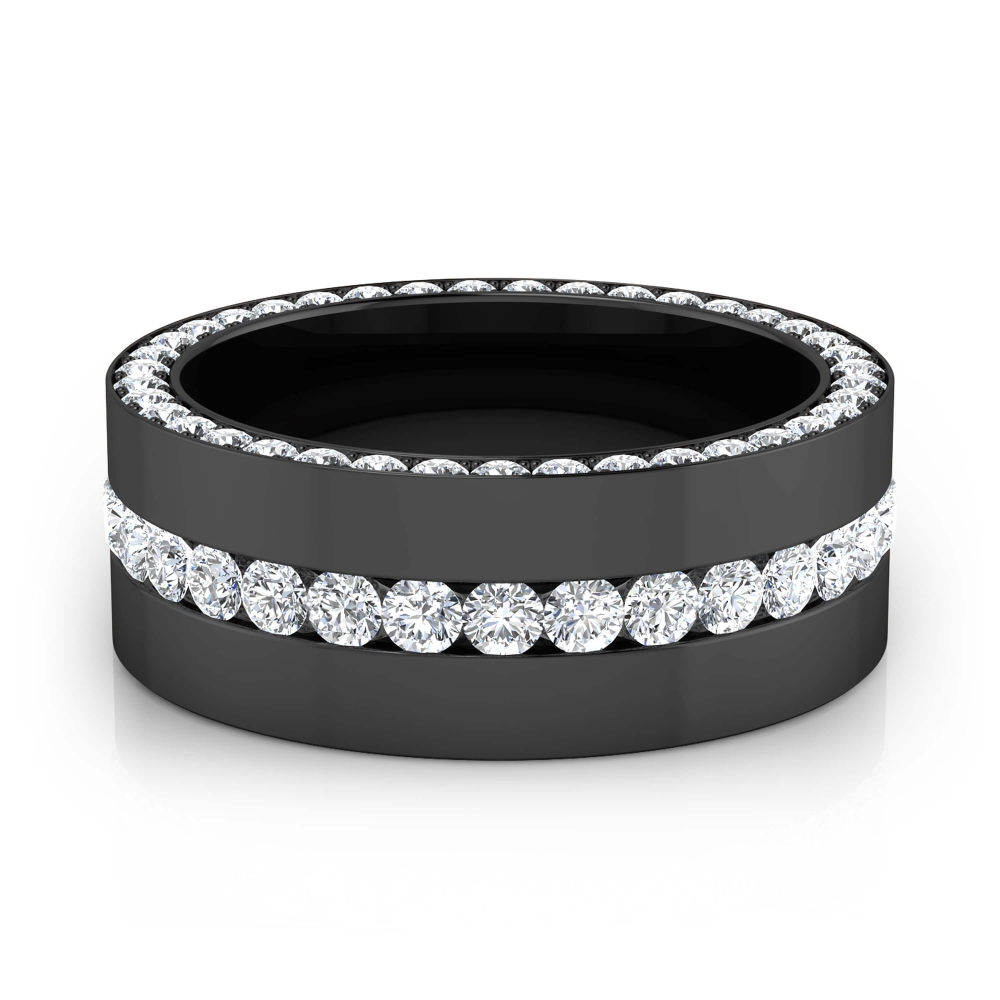 Anillos de compromiso en oro negro de 18k con 113 diamantes