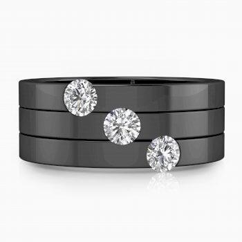 Anillos de compromiso de oro negro de 18k con 3 diamantes