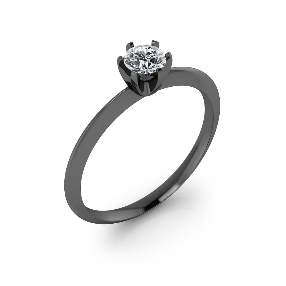 Solitario de compromiso en oro negro con 1 diamante talla brillante.