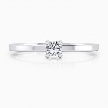 Solitario de compromiso de oro blanco de 18kt, brazos estilizados y diamante talla brillante.