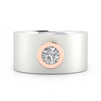 Anillo de diamante de oro blanco de 18k con montura de oro rosa