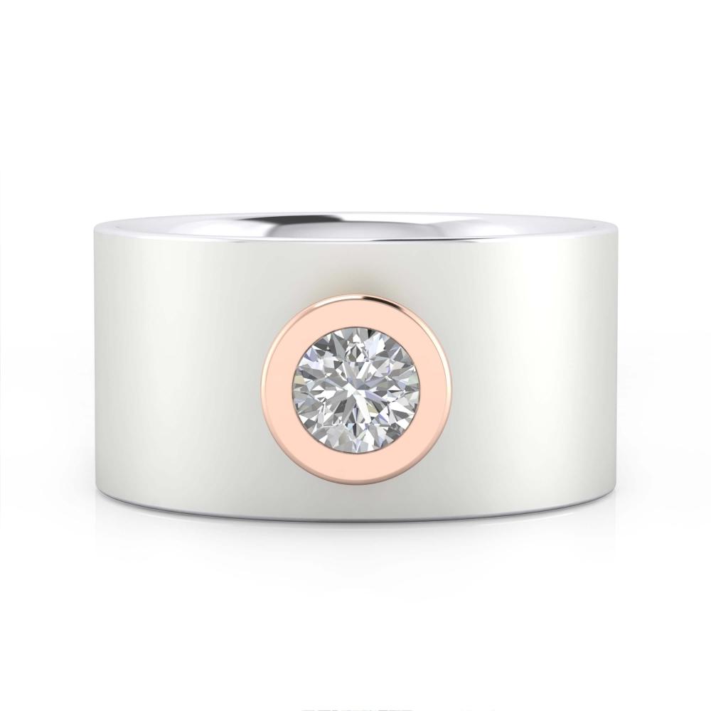 Anillo con diamante oro blanco y oro rosa