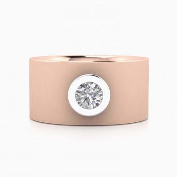Anillo de diamante de oro rosa de 18k con montura de oro blanco