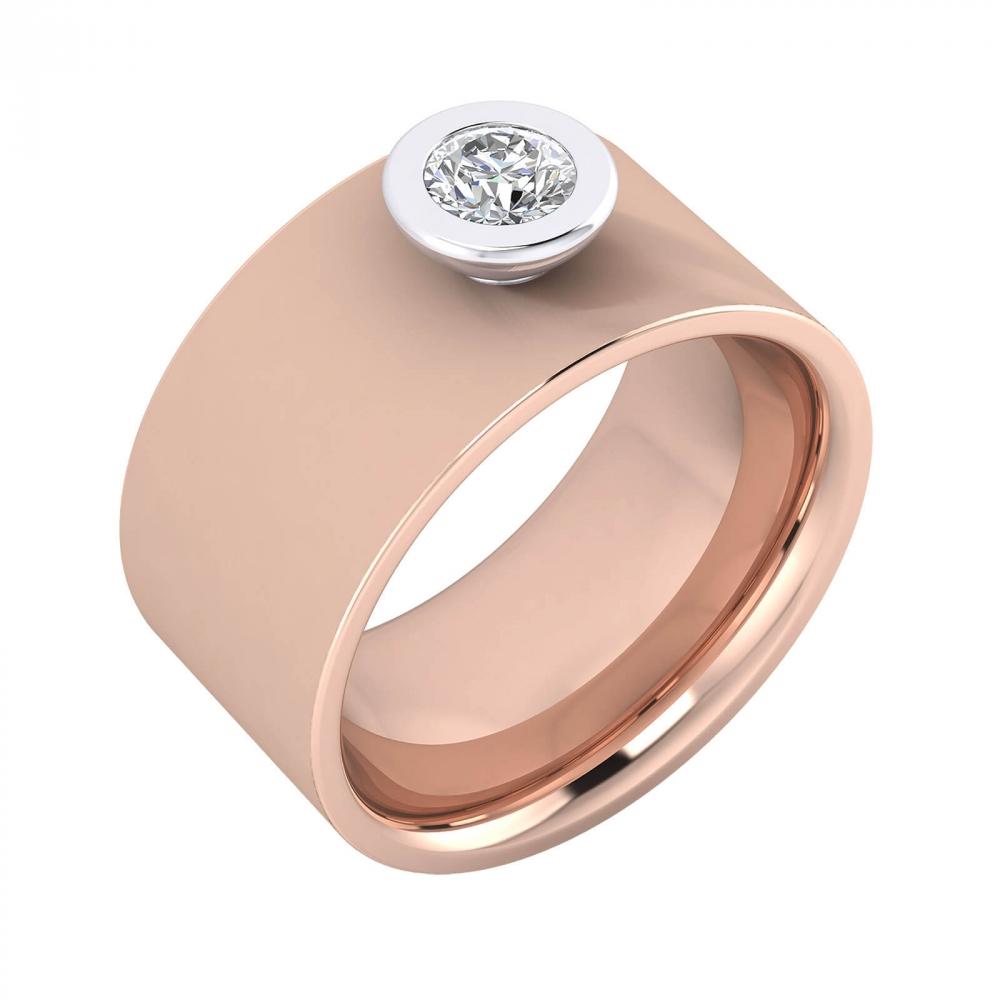 foto de perfil de Anillo de diamante oro rosa y montura de oro blanco