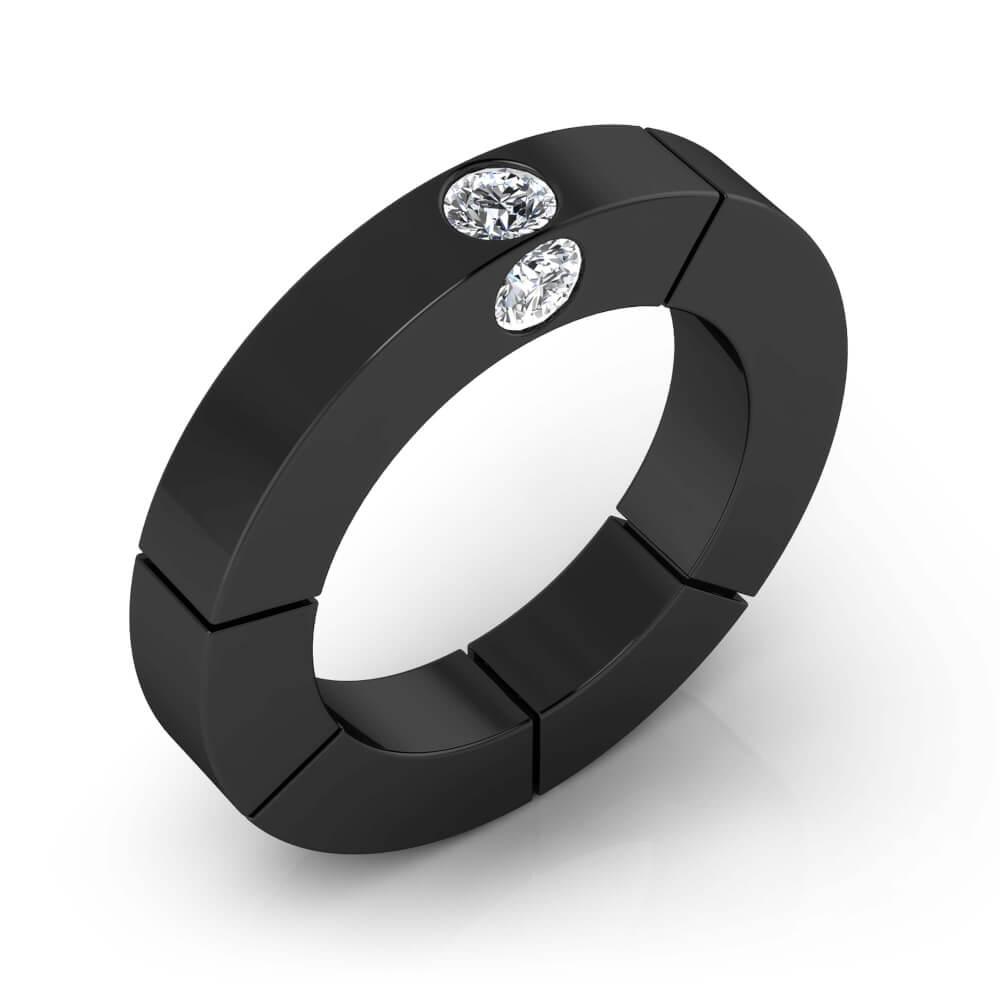 Anillo de diamantes de oro negro de 18k con 3 diamantes