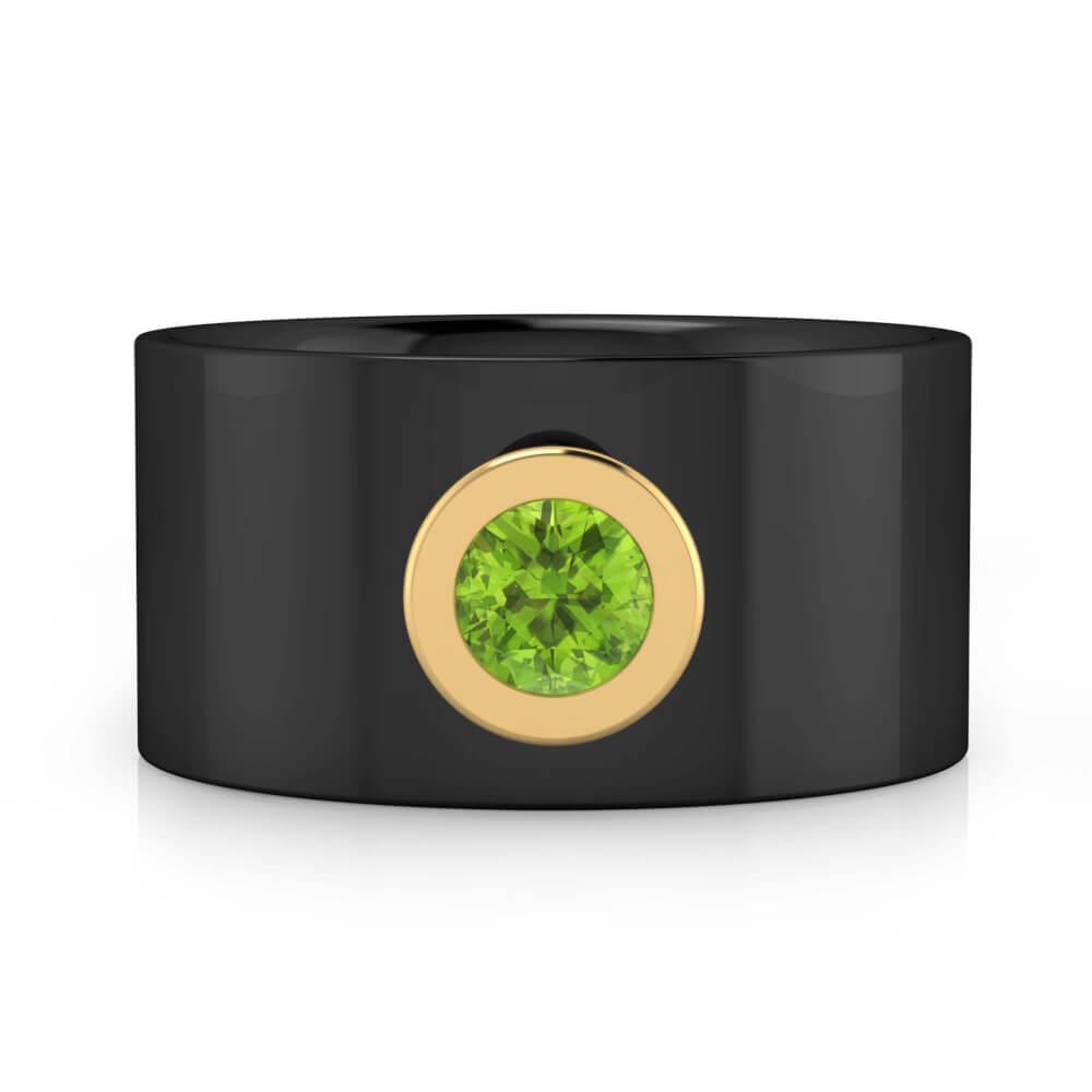 Anillo de diamantes de oro negro de 18k con 1 Peridoto color verde