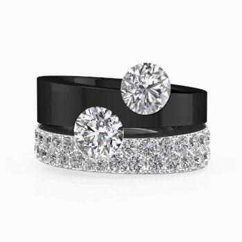 Anillo de diamantes de oro blanco, negro y diamantes