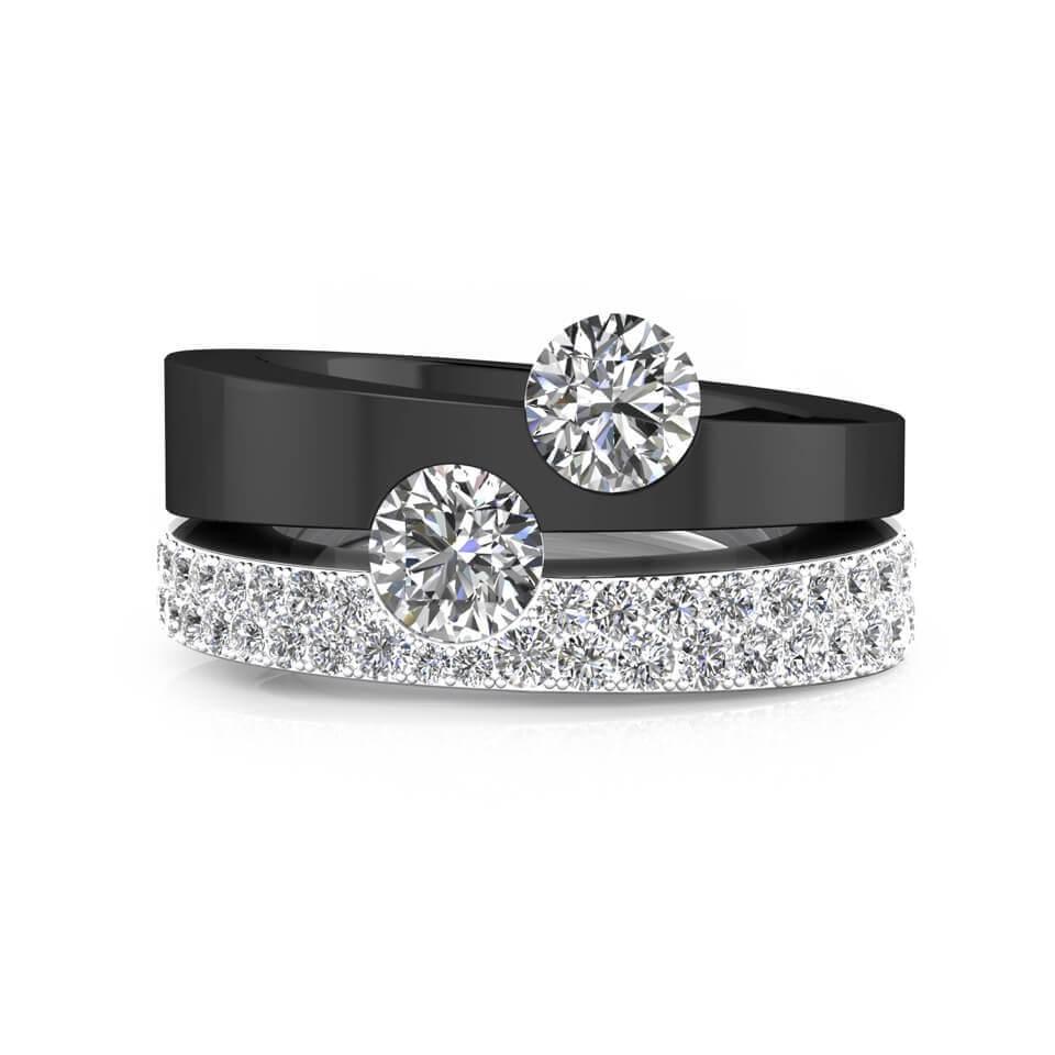 Anillo de diamantes oro blanco, negro y diamantes