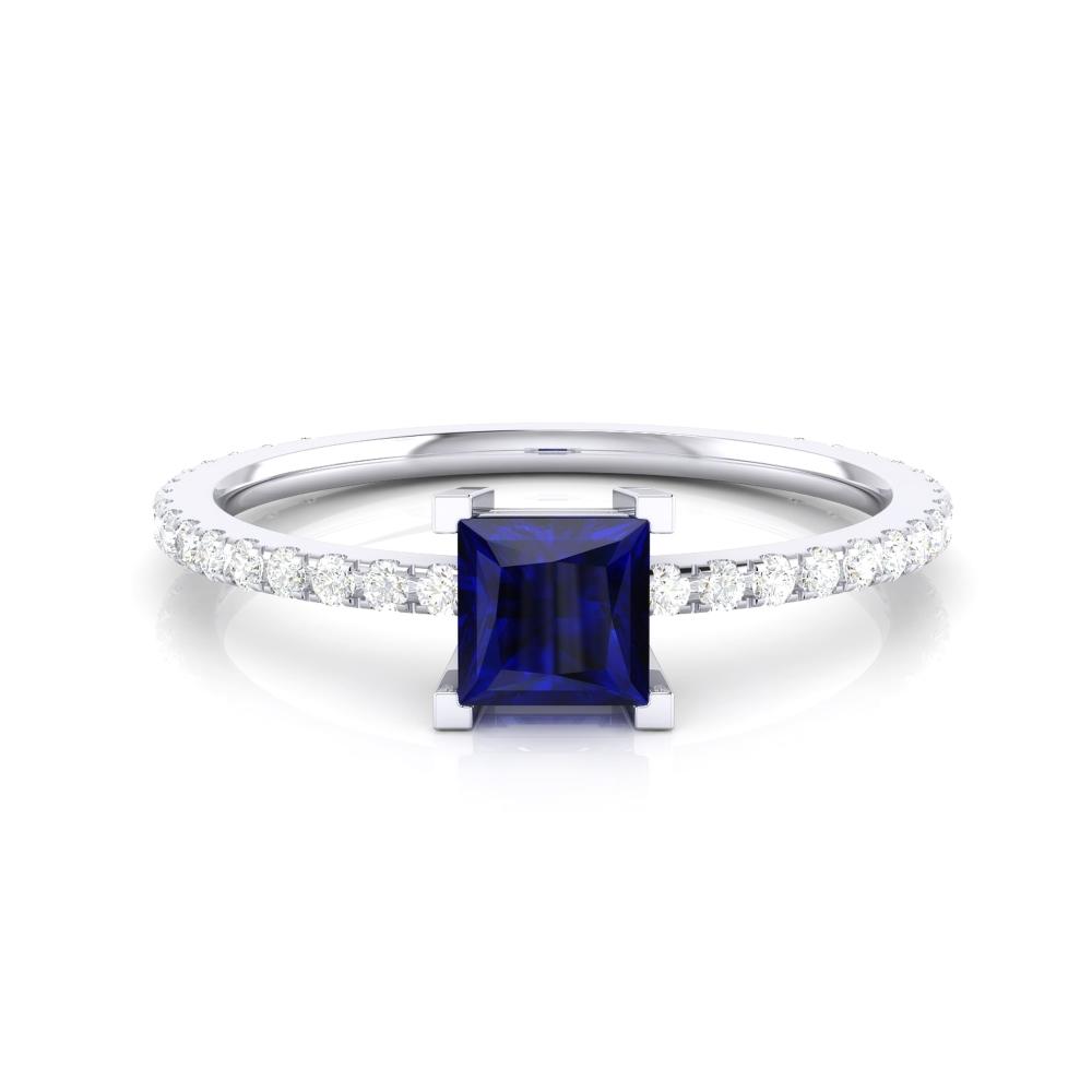 Anillo con Iolita azul talla princesa y diamantes