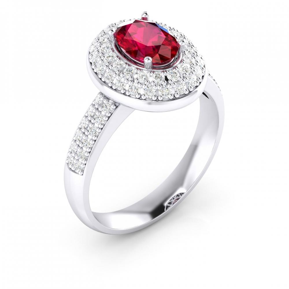 Anillo de oro blanco de 18kt con rubí y diamantes