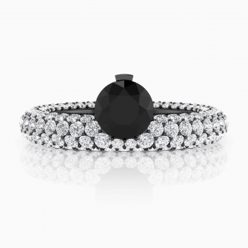Anillo de compromiso oro blanco y diamante negro