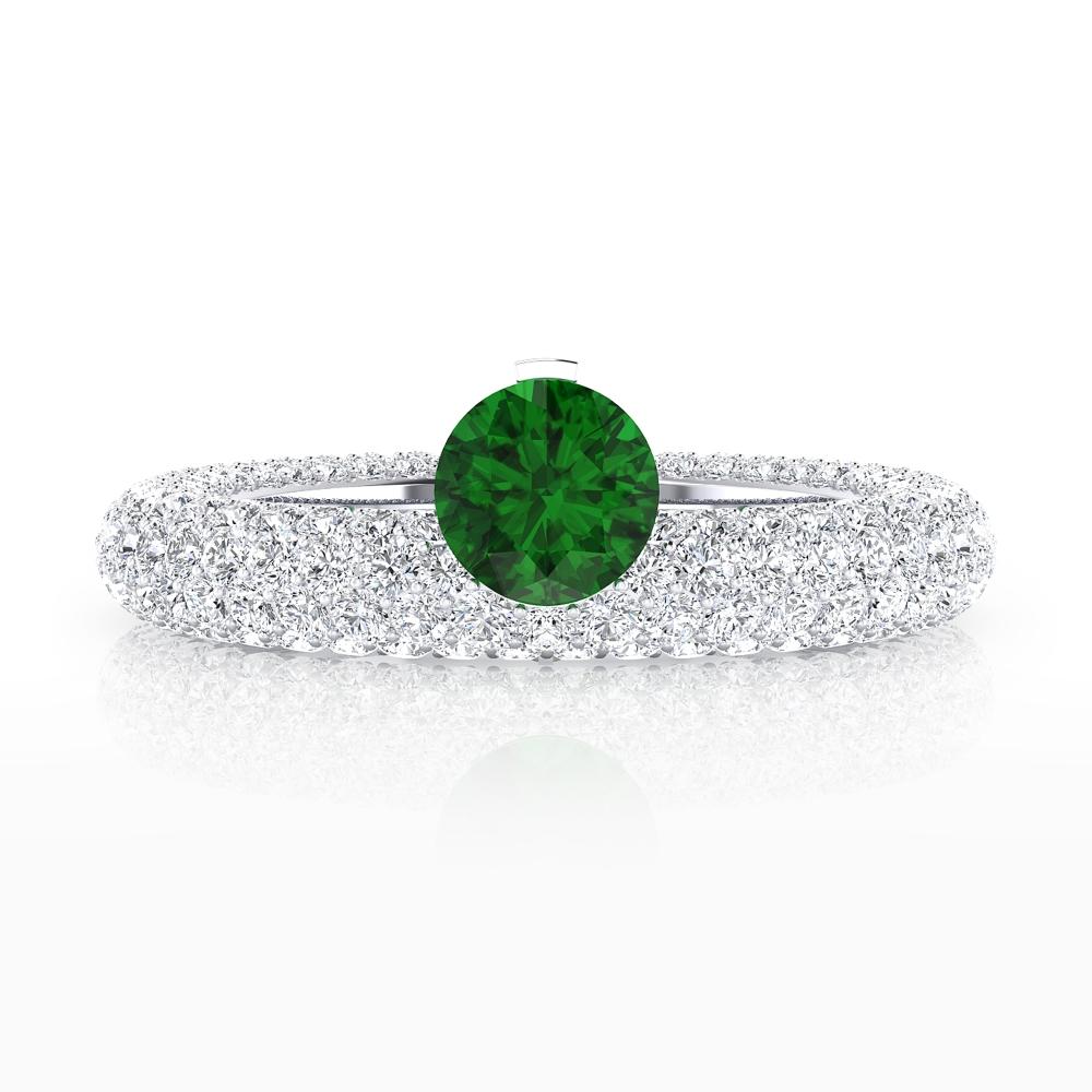 Anillos de compromiso de oro blanco 143 diamantes con esmeralda natural