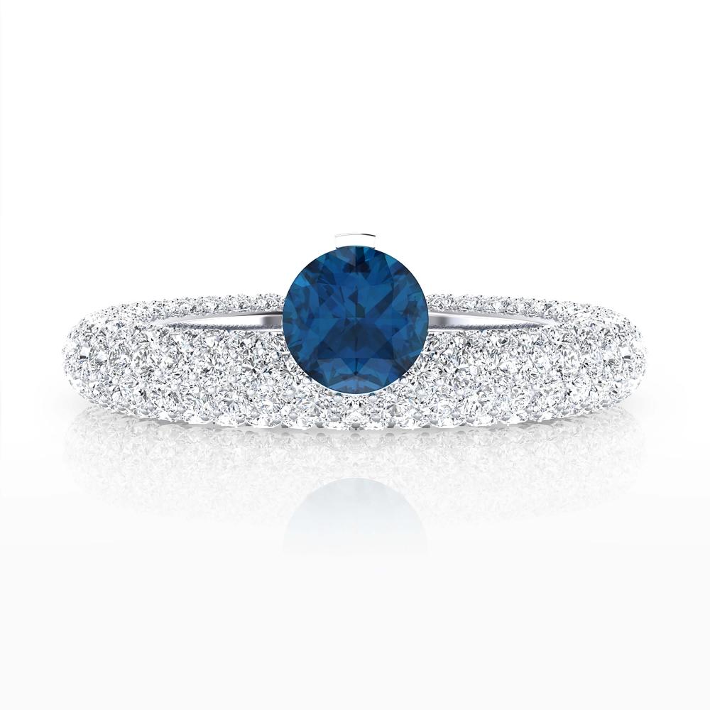 Anillo de compromiso de oro blanco 143 diamantes y Zafiro azul