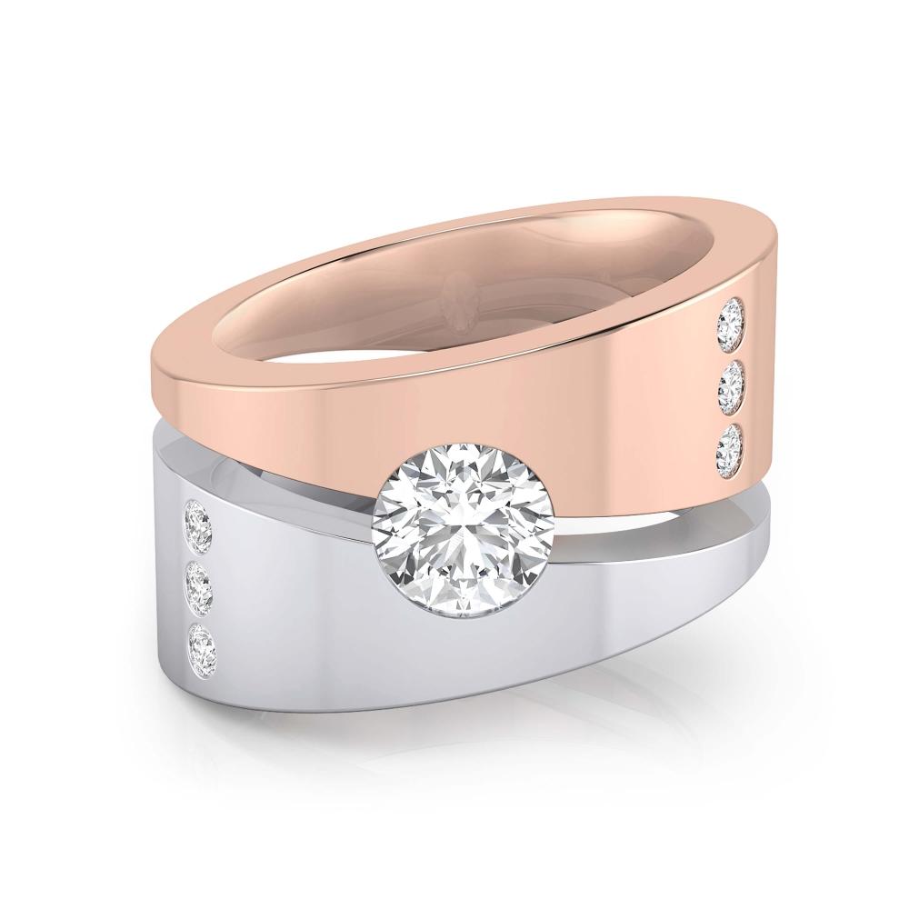 diamantes incrustados en anillo de oro blanco y rosa