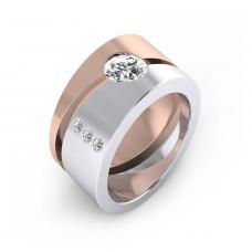 Anillo de diamantes de oro blanco y rojo de 18k con diamantes