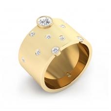 Anillo de diamantes de oro amarillo de 18k con 14 diamantes
