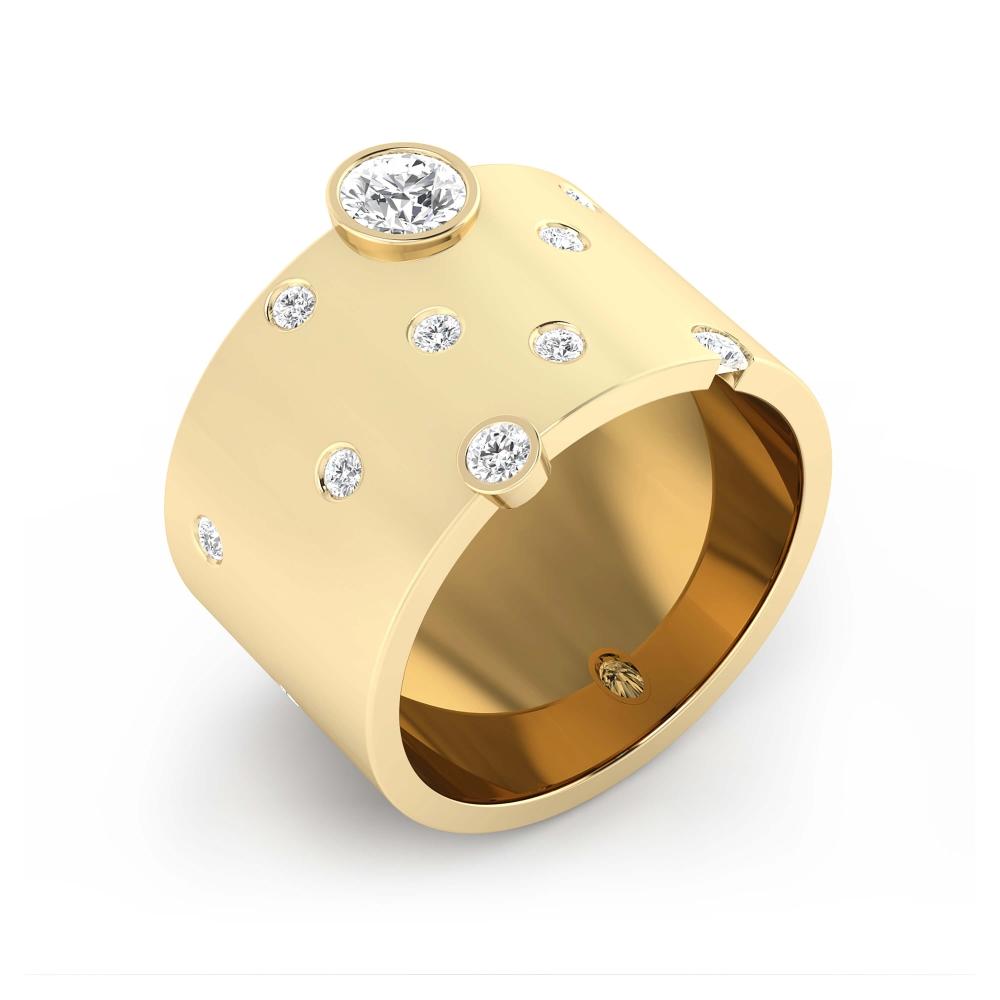 Foto de perfil de anillo de oro con 14 diamantes