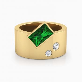 Anillo de diamantes de oro amarillo de 18k con 2 diamantes y 1 esmeralda natural