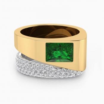 Anillo de diamantes y oro amarillo y 1 esmeralda