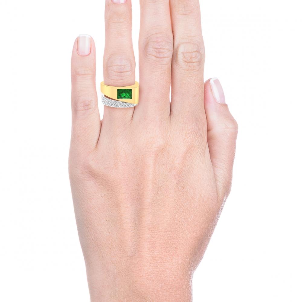 Anillo de diamantes de oro amarillo de 18k con 116 diamantes y 1 esmeralda