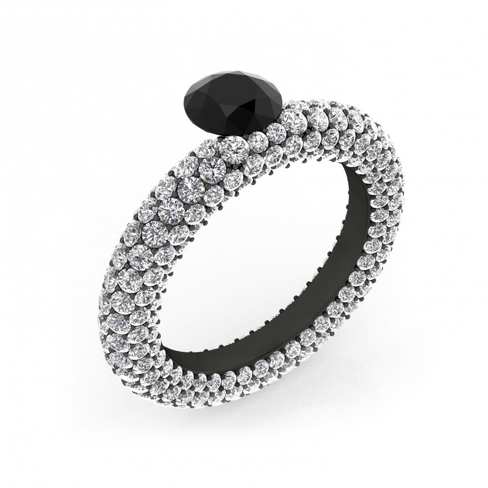 Anillos de Diamantes de oro blanco 143 diamantes con diamante negro