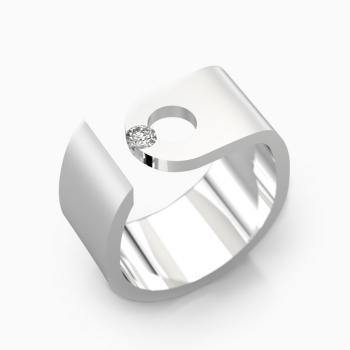 Anillo de diamantes de oro blanco