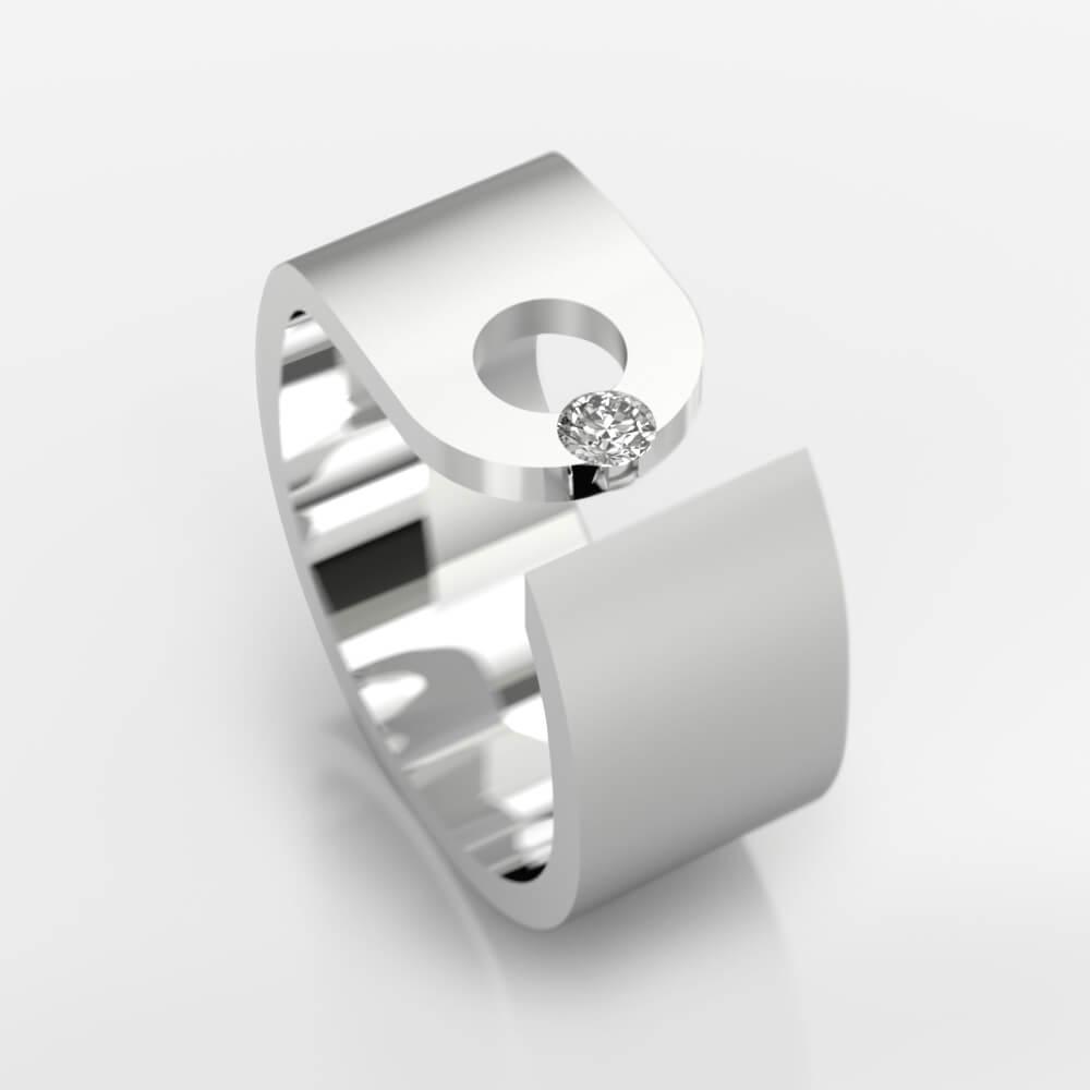Anillo de diamantes de oro blanco de 18k con 1 diamante