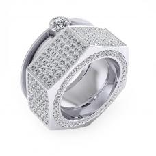 Anillo de oro blanco de 18k con 190 diamantes