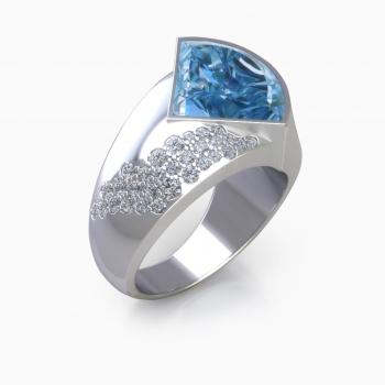 Anillo de diamantes de oro blanco con agua marina