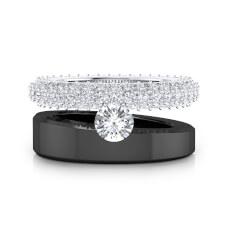Anillos de diamantes de oro blanco y negro de 18k con 121 diamantes
