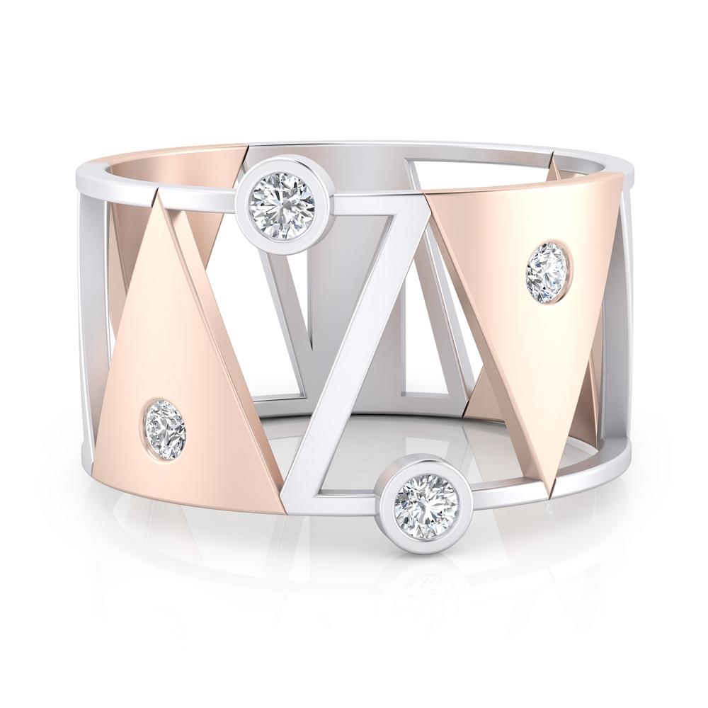 anillo de oro rojo y blanco con diamantes