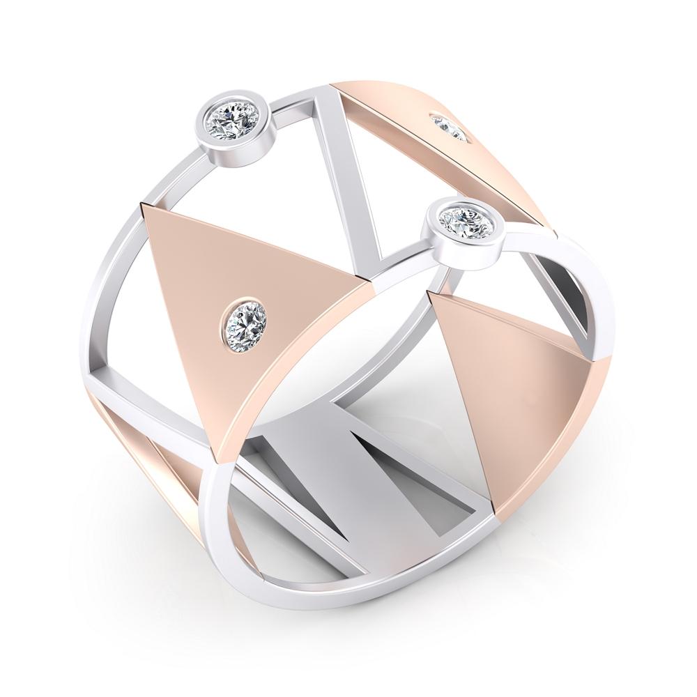 Anillo de diamantes oro blanco y oro rojo 18k con 6 diamantes