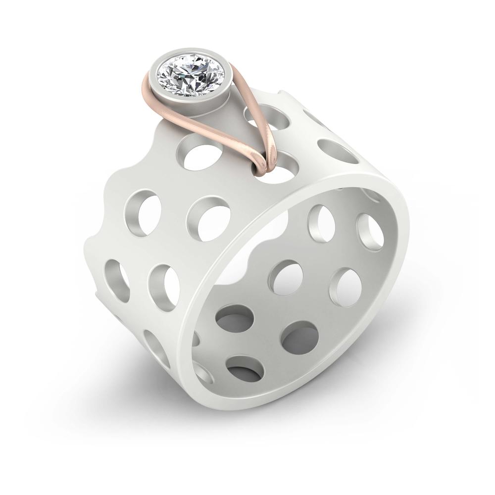 Anillo de diamantes de oro blanco y rojo de 18k con 1 diamante