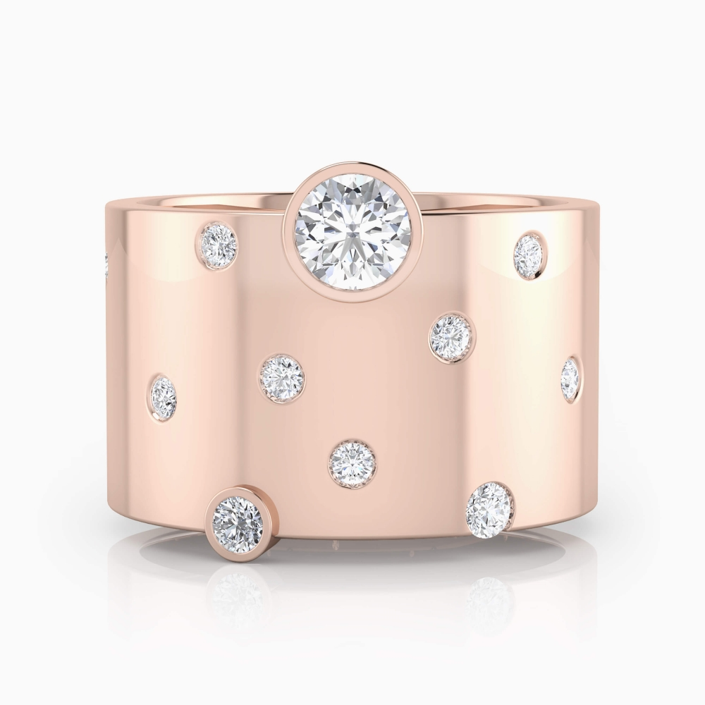 anillo con diamantes y oro rojo