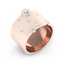 Anillo de diamantes de oro rojo de 18k con 14 diamantes