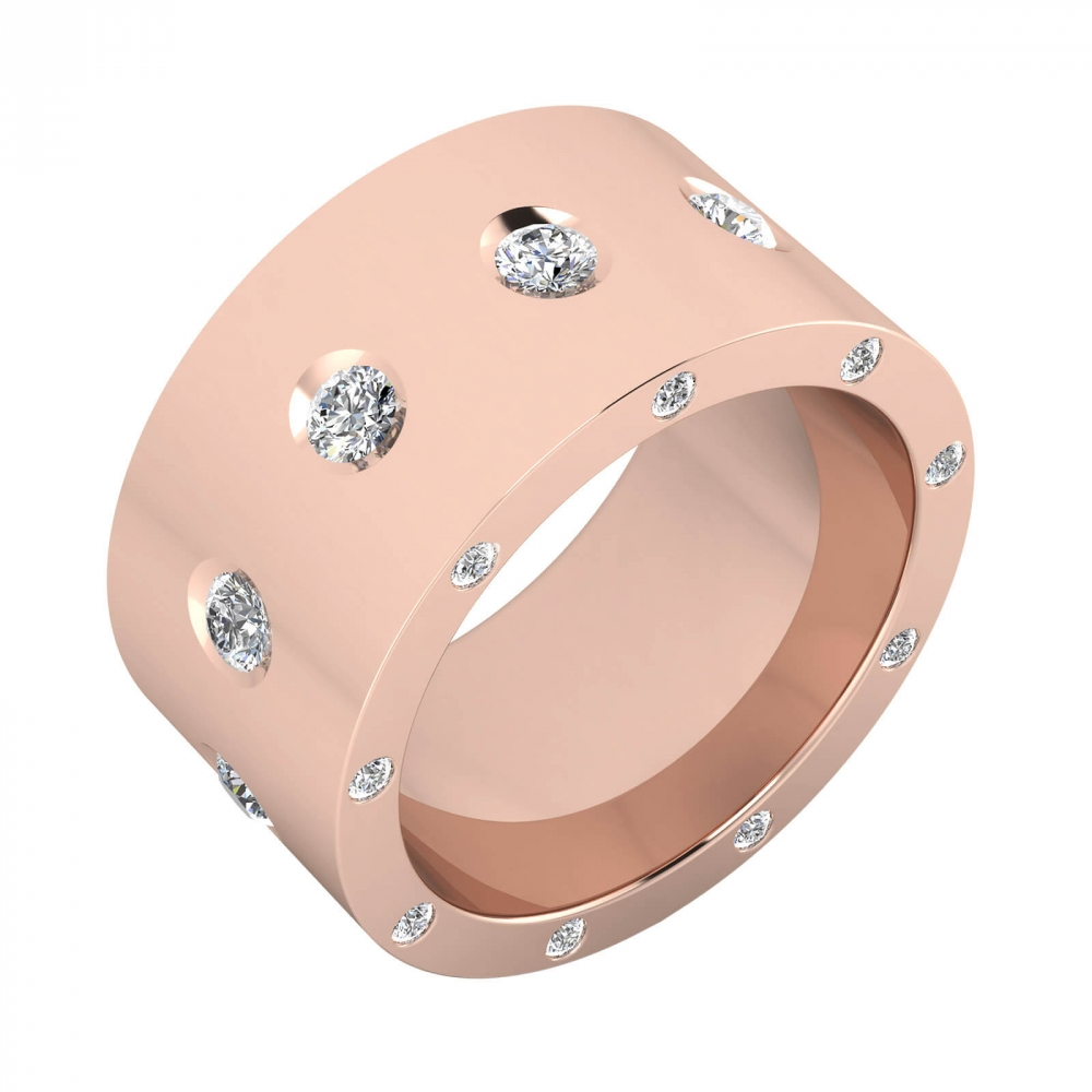 Anillo de diamantes de oro rosa de 18k con 25 diamantes