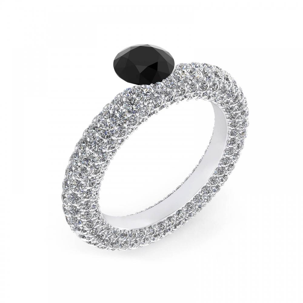 Anillos de oro blanco con diamante negro y 143 diamantes