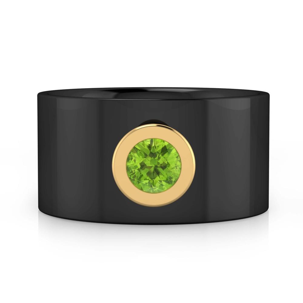 Anillo para hombre con diamantes y oro negro de 18k con 1 Peridoto color verde