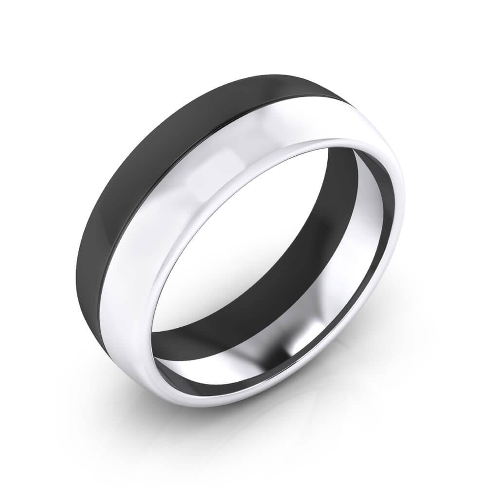 foto de perfil de anillo de oro blanco y rodio negro para hombre