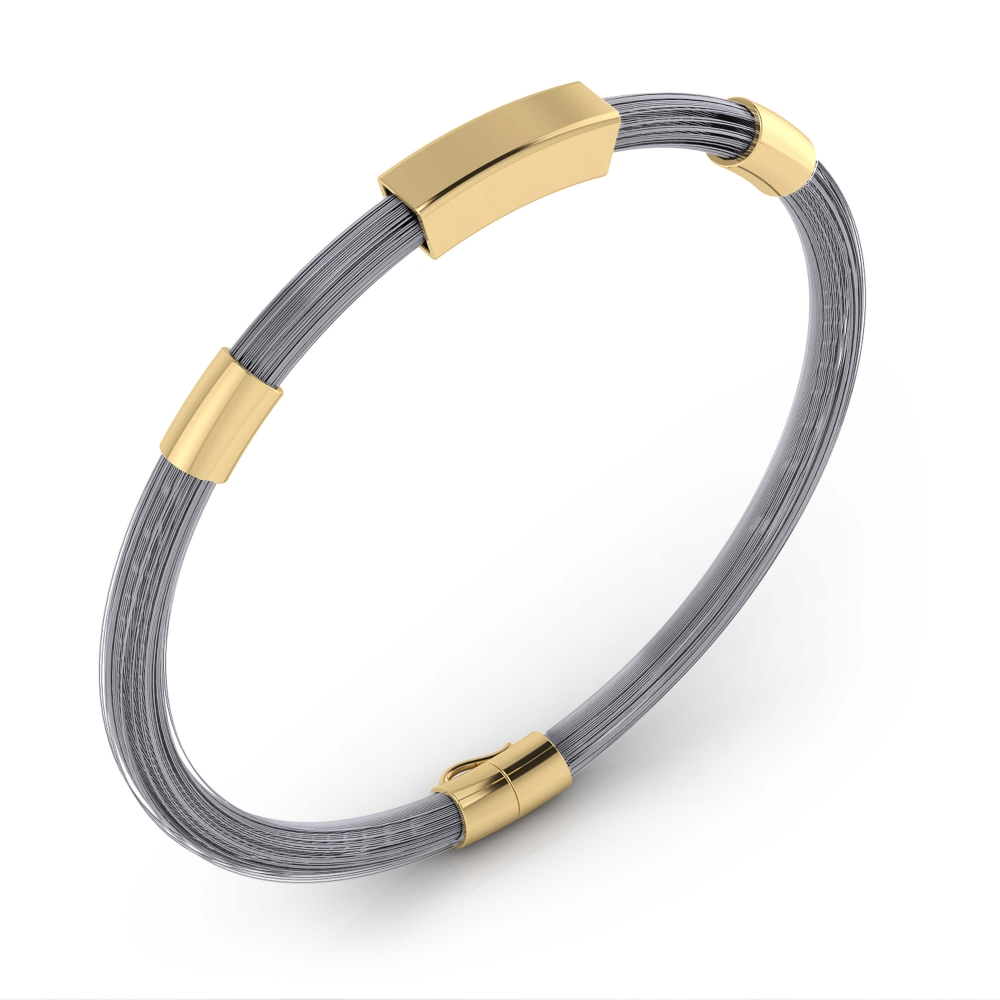 Brazalete para hombre de oro de 18k con hilos de acero