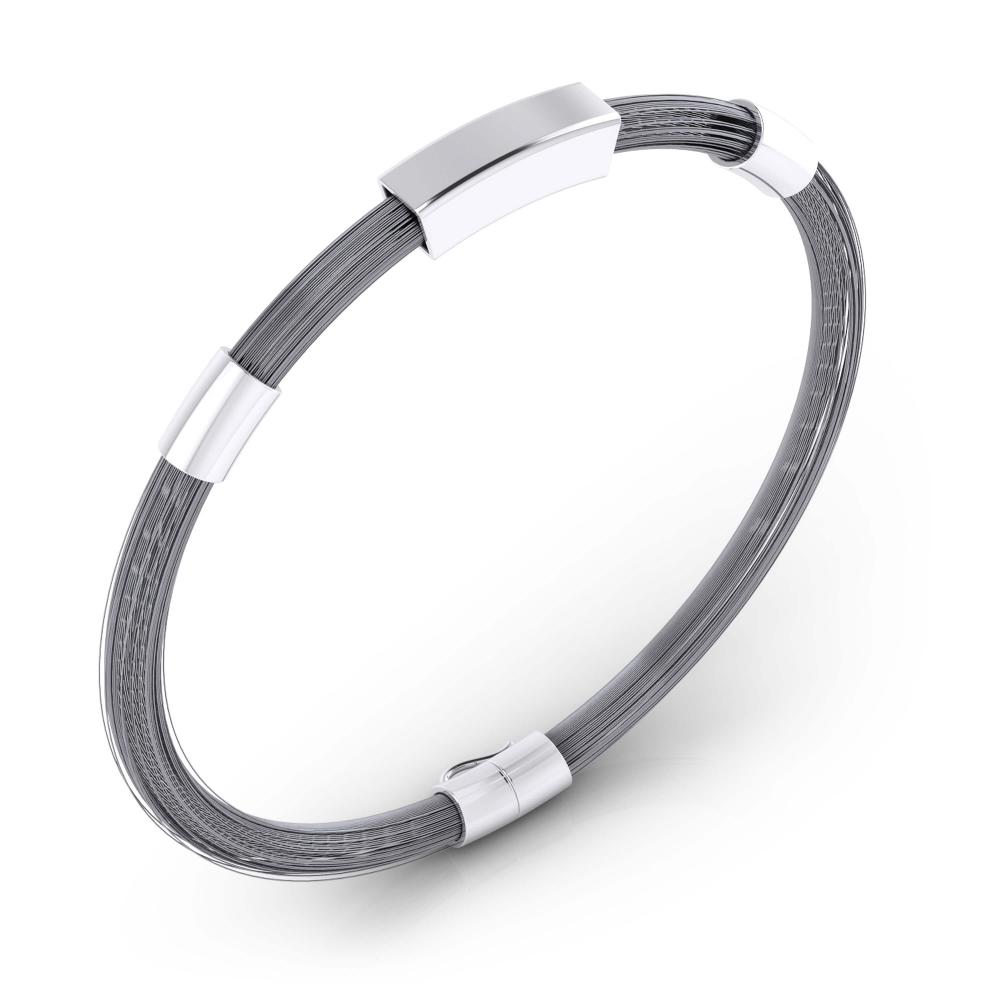Brazalete para hombre en plata con hilos de acero