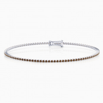 Pulsera riviere de diamantes de oro blanco de 18kt con diamantes brown de 0,01ct