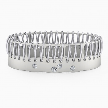 Brazaletes de oro blanco de 18k con 4 diamantes